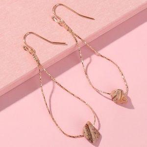 Snake Chain Brown Stone Earrings